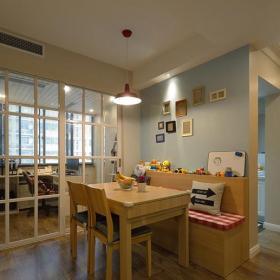 餐廳吊燈書房隔斷現代餐桌餐椅餐廳吊頂106㎡三居簡約風格餐廳背景墻裝修圖片簡約風格餐桌圖片效果圖大全
