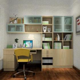 小书房灯具家居摆件书桌书柜现代风格书房装?#20301;?#35013;修效果图现代风格电脑椅图片