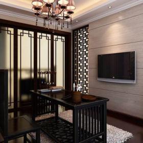 中式古典三居室书房壁纸装修效果图