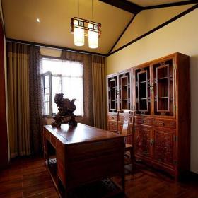 中式古典四居室书房窗帘装修效果图大全