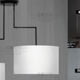 吊灯现代简约餐厅灯吧台灯休闲区led办公室书房灯咖啡厅布罩两头效果图