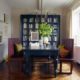 实木家具三居书桌书柜中式书房彰显中式神韵效果图