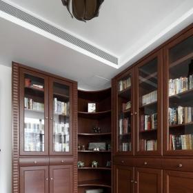 简约中式书房书柜样板房设计效果图大全