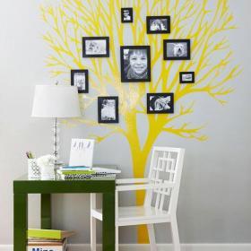 照片墙三居书桌客厅背景墙创意书房背景墙装修效果图