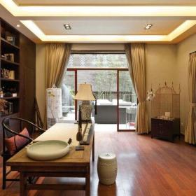 中式风格二居室书房窗帘装修效果图欣赏