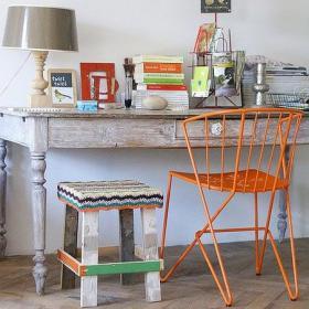 書房書桌混搭波西米亞陳舊的家具融入新鮮的色彩效果圖