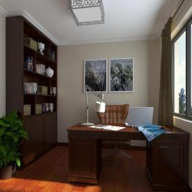 小书房灯具家居摆件书柜家具书桌书柜现代风格书房装?#20301;?#35013;修效果图现代风格电脑椅图片
