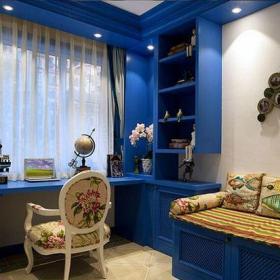 公寓書房藍色夢幻地中海風書房裝修效果圖