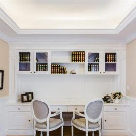 浪漫書房穩重時尚白色素雅雙人書房效果圖