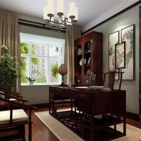 中式风格三居室书房壁纸装修效果图
