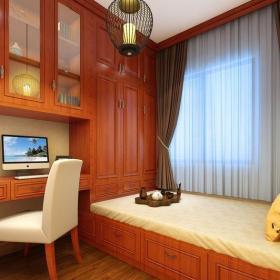 中式风格五居室书房壁纸装修效果图