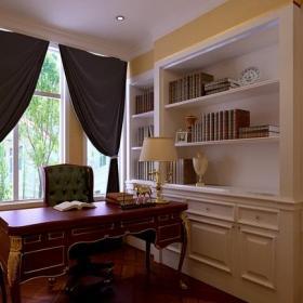 歐式風格別墅書房窗簾桿窗簾裝修效果圖