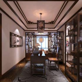 中式风格别墅书房壁纸装修效果图