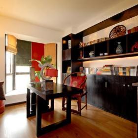 书桌书柜中式书房呈辉装饰装修效果图