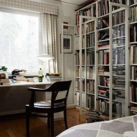 农村小别墅书桌书柜实木家具椅凳窗帘北欧风格农村二层小别墅书房装修图片北欧风格书柜图片效果图大全
