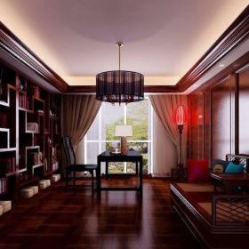 中式暖色系書房博古架設計效果圖