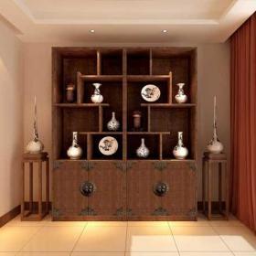 窗帘中式家具中式风格书房装修效果图中式风格博古架图片