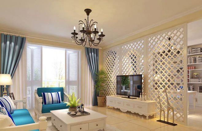 开放式书房客厅隔断实用电视背景墙隔断设计效果图