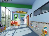 环境布置彩绘墙体彩绘厕所门工装现代风格幼儿园墙体彩绘装修效果图