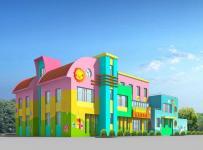 彩绘墙体彩绘厕所门工装现代风格幼儿园墙体彩绘装修效果图