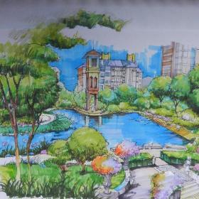 原创手绘图书馆景观图装修效果图