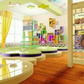 现代风格幼儿园隔断装修效果图-幼儿园墙上置物架图片