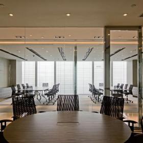 現代金融辦公室圓桌會議室效果圖片