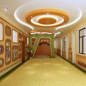 工装吊顶过道吊顶厕所门现代风格幼儿园环境布置效果图