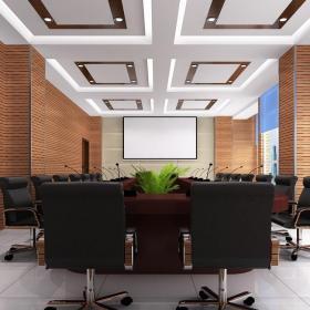 混搭风格办公会议室仿古砖背景墙设计欣赏效果图大全
