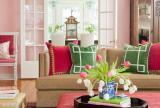 混搭別墅沙發茶幾在優雅的客廳中注入了粉色的浪漫效果圖大全