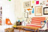 混搭风格小清新暖色调彩色混搭客厅效果图