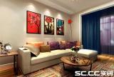 休闲沙发装饰画家具茶几水电首郡122㎡现代简约客厅沙发背景墙装修效果图