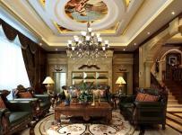 280㎡别墅欧式风格客厅沙发背景墙装修效果图欧式风格茶几图片