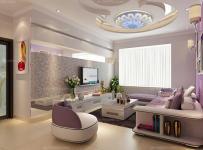 80㎡茶几现代二居单身公寓充满贵族气息的紫色梦幻客厅效果图欣赏