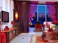 中式110㎡婚房布置喜庆的客厅空间布置效果图
