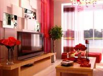 红色中式100㎡婚房布置为新婚佳人精心布局的客厅空间效果图