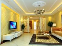 家具吊灯电视背景墙地毯茶几电视柜混搭局部客厅侧面装修效果图