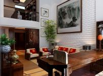 280㎡中式风格客厅沙发背景墙装修效果图中式风格实木电视柜图片