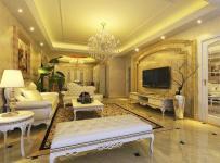 躍層吊頂電視背景墻四居室簡歐裝修客廳效果圖