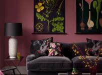 110㎡沙發背景墻單身公寓沙發客廳背景墻彌漫著酒香味的酒紅色客廳設計裝修效果圖