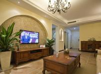 ID城市空间新古典风格二居室古典米色富裕型客厅电视背景墙沙发图片效果图