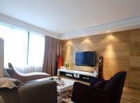 现代简约风格三居室原木色100平米客厅电视背景墙装修效果图