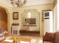 原木色美式客厅三居室美式风格小平米客厅电视背景墙装修效果图