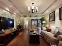 休闲沙发实木家具吊灯家具美式茶几电视柜客厅侧面整体装修图片效果图欣赏