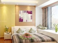 卧室背景墙黄色90㎡飘窗客厅背景墙三居单身公寓床低调的奢华展现于现代简约卧室装修效果图
