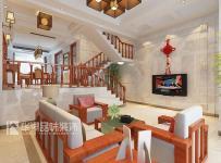 梯復式公寓照片墻吊頂電視背景墻客廳吊頂小復式樓新中式風格客廳電視背景墻裝修效果圖新中式風格多人沙發圖