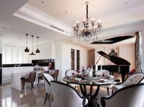 歐式古典風格四居室客廳餐桌裝修效果圖