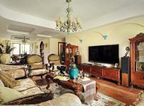 實木茶幾電視柜儲物柜地柜沙發實木家具美式風格客廳家具圖片效果圖