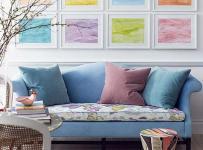 清新抱枕110㎡沙发背景墙三居单身公寓沙发新鲜的彩色点缀出亮丽的客厅效果图欣赏