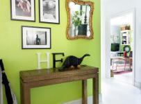 單身公寓客廳背景墻綠色玄關背景的故事效果圖